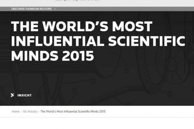 Thomson Reuters produziu relatório 'The World's Most Influential Scientific Minds 2015'.