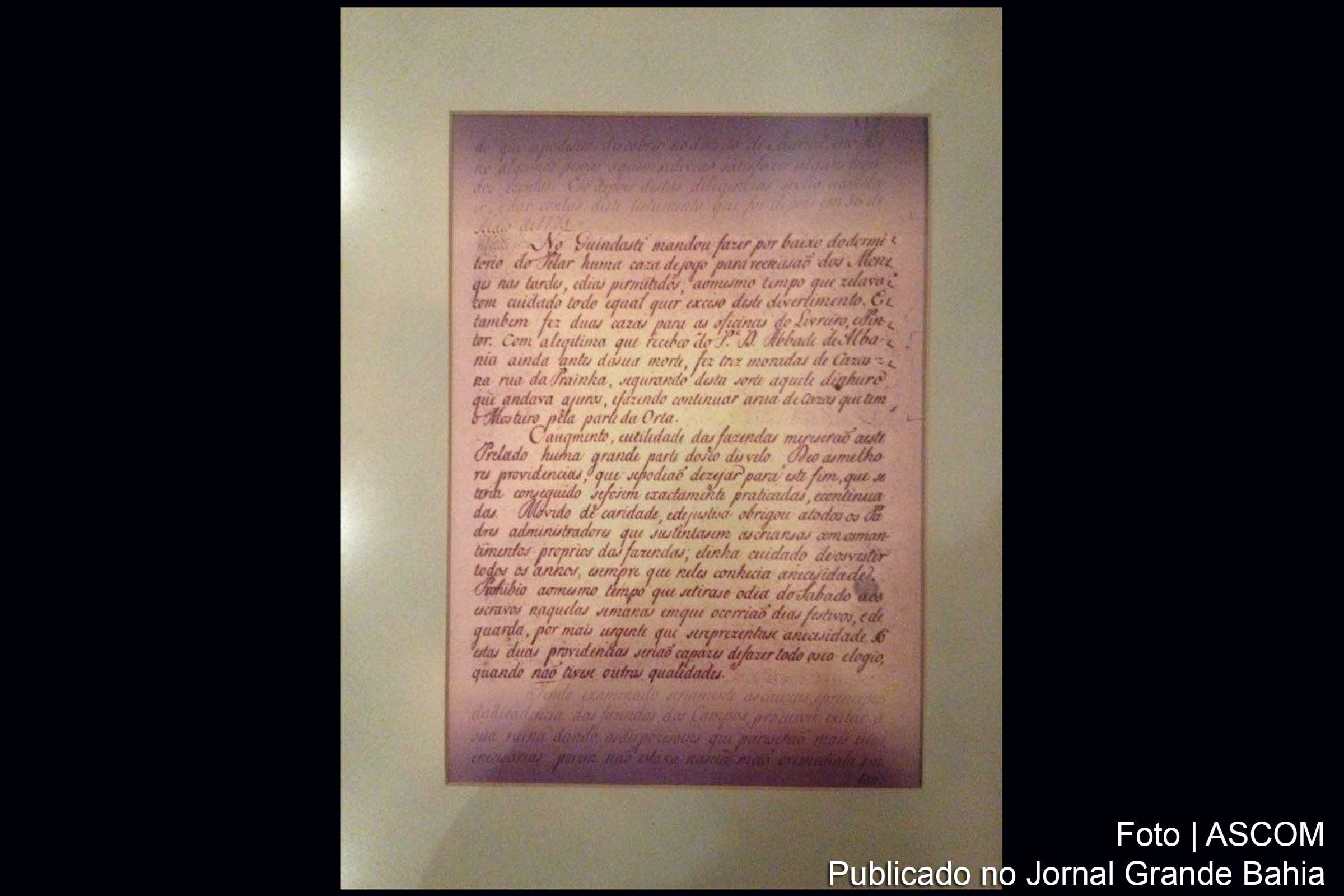 Manuscrito do Frei Gaspar da Madre de Deus.
