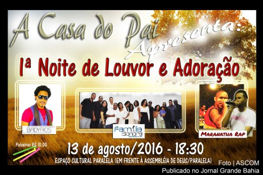 Cartaz anuncia evento gospel na Casa do Pai.