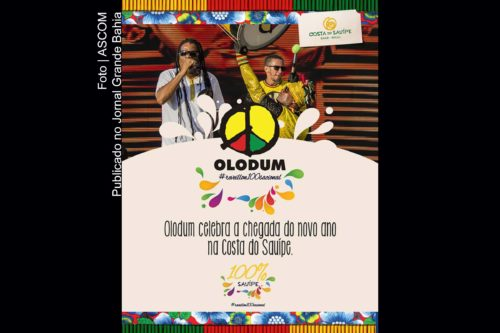Cartaz anuncia Olodum no Réveillon 2018 de Costa do Sauípe.